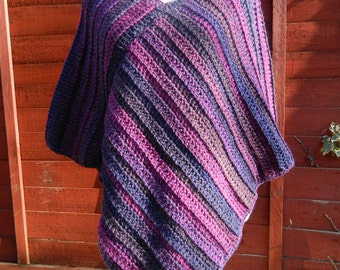 Poncho in various shades of Plum, Purple