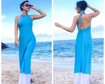 Blue White color block Halter long maxi dress sun evening all size