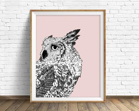 "owl, owl decor, woodland animals, large art, large wall art, modern, minimalist, wall art prints, art prints, art - ""Dreaming of Full Moons"""