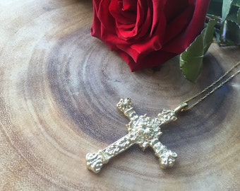 Hail Mary Necklace, Cross Necklace, Gold Necklace
