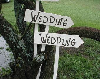 White Wedding Directional Signs / White Wedding Sign / White Wedding / White Wedding Arrow Sign / Black and White Wedding