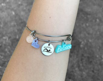 Swim Gifts, Swim Bracelet, Swimmer Jewelry, Gifts for Swimmers, Swimmer Bracelet, Swimming Bracelet, Swimming Gift
