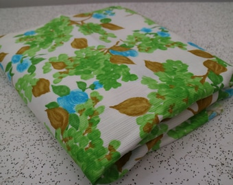 painterly floral in green and blue...vintage cotton fabric yardage