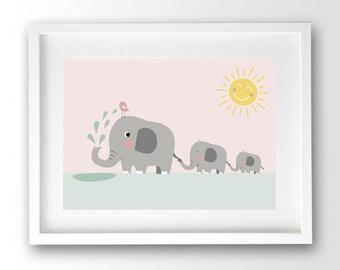 Elephant Family Print, Pastel Print Kids, Playroom Printable, kids nursery decor