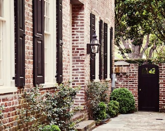 Charleston Photograph - Classic Southern Home Decor - Traditional Architecture - Red Brick Black - Art South Carolina Photography