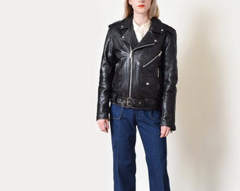 Black Leather Motorcycle Jacket Vintage Classic Moto Jacket Biker M