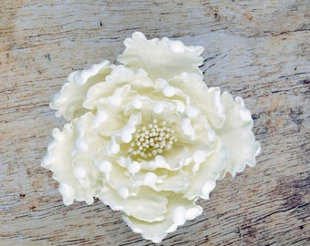 White Peony Sugar Flower - Unique Wedding Cake Topper - Gumpaste Flowers - Stamens in gold, silver, rose gold, white, black, or yellow