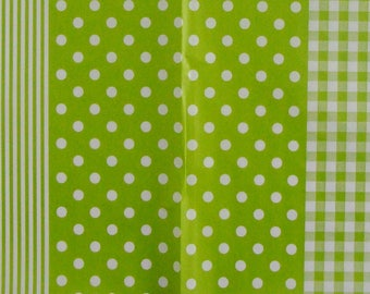 Set of 3 sheets of paper Decopatch stripes / dots / green gingham