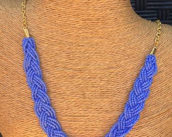 Braided periwinkle necklace, bridesmaids necklace, periwinkle necklace, periwinkle bridesmaids, periwinkle bib, bib necklace, cornflower