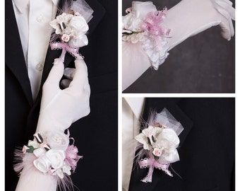 Boutonniere and wrist corsage pink ivory flower set/Prom corsage set, Boutonniere and fabric bracelet, Bridesmaid, Prom fabric cuff bracelet