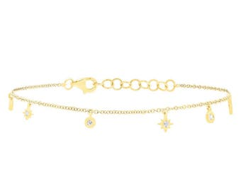 Real Diamond Charm Bracelet, 14 karat Yellow Gold Diamond Charm Anklet,0.15ct 14k Yellow Gold Diamond Star Bracelet