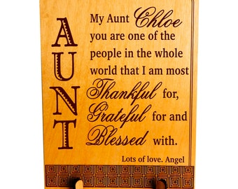 Gifts for Auntie-Great Aunt Gift-Mother's Day-Personalized Aunt Appreciation-Thank You Auntie-Aunt Gift Ideas, PLA008