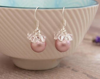 Rose Pink Pearl Bridal Earrings - Pearl and Crystal Wedding Earrings - Bridemaids Jewellery - Thank you Gift - Jewellery Made By Me Etsy UK