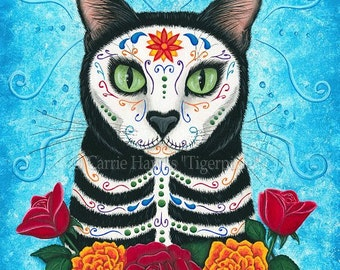 Day of the Dead Cat Art Mexican Sugar Skull Cat Gothic Cat Art Limited Edition Canvas Print 11x14 Art For Cat Lover