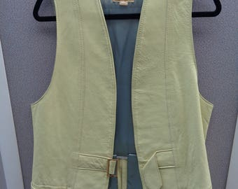 Vintage Light Green Leather Vest with Front Buckle