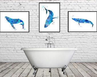 Whale, Blue Whale, Ocean art, sealife, watercolor art print, whale print, home decor, watercolor print, whale art, Set of 3 prints (3425-9b)