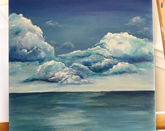 "World Between Us....Original 12"" x 12"" Acrylic Painting on canvas, Clouds over the Ocean"
