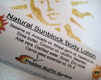 Sunblock Moisturizing Body Lotion, Child Safe, Dry Skin, Bald Head Care, Zinc oxide, Natural SPF Containing Oils