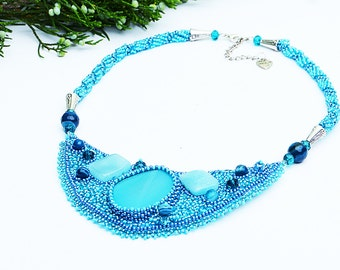 Embroidered beaded necklace Blue agate aquamarine necklace Boho necklace Beadwork necklace beaded jewelry Fashion gift