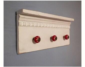 Shelf hanger, hanger, with hangers, ceramic knobs, style Shabby Chic