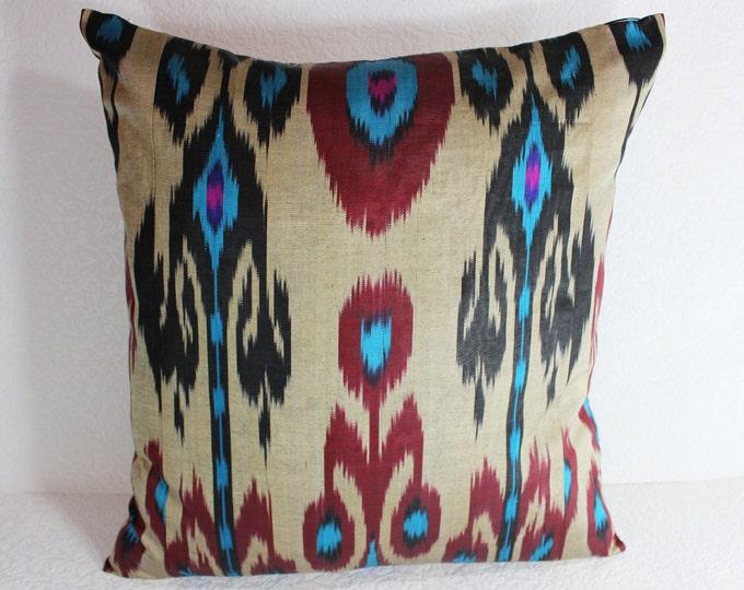 Ikat Pillow, Handmade Ikat Pillow Cover  IP124 (S118), Ikat throw pillows, Designer pillows, Decorative pillows, Accent pillows
