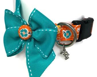 Orange and Aqua Floral Dog Collar size Medium