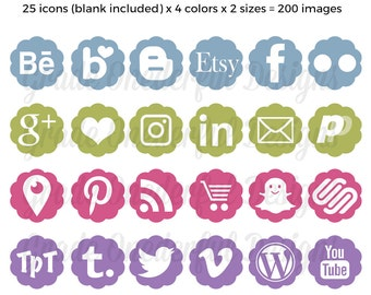 Social Media Icons, Vector Icons, Blog Buttons, Social Media Images, Social Media Graphics, Pink Blue Green Purple, Flower Icons Images