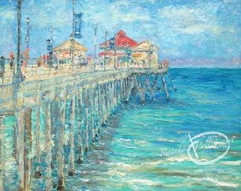 "Acrylic Painting, impressionism Impasto オリジナル画 ""Huntington Beach Pier""  20"" X 16"" by Yoko Collin,  canvas artwork"