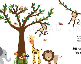 Jungle Decals, Jungle Wall Decals, Nursery Wall Decal, Giraffe, Elephant, Lion, Zebra, Four Monkeys, XXXL Rainforest Safari Design