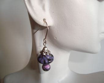 Lampwork Glass Beads in Dark Purple and Lavendor with Sterling Silver Earrings - Beautiful Color on these Lampwork Beads, Handmade, SRAJD