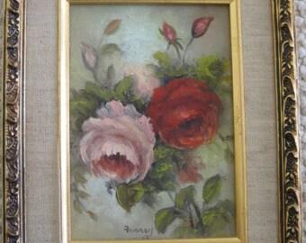 Vintage Signed Original Still Life Roses Painting - Vintage Rose Painting - Antique Rose Painting - Painting of Roses