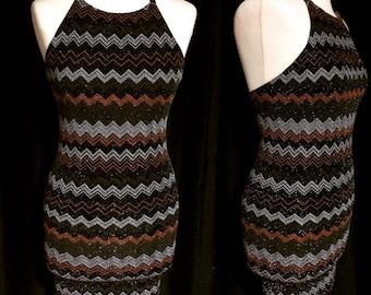 Jewel chevron halter dress