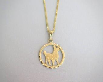 Gold Aries Necklace - Aries Necklace - Gold Aries Pendant - Gold Zodiac Necklace - Gold Zodiac Pendant - Aries Jewelry - Zodiac Jewelry