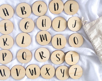 Set of 26 Wooden Uppercase Letters of the English Alphabet (A-Z) FlatBlocks | Wooden Alphabet Blocks
