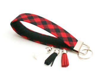 Key Fob - Red and Black Buffalo Plaid Check - 5 Inch Key Ring Wristlet - Loop Keyring - Cute Wrist Strap - Short Lanyard - New Driver Gift