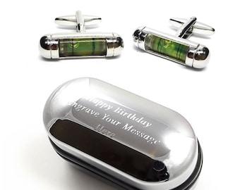 Green Spirit Level Tradesman Cufflinks & Engraved Gift Box (X2PSN076) - Novelty Cufflinks, Quirky Cufflinks, Personalised Cufflinks Box
