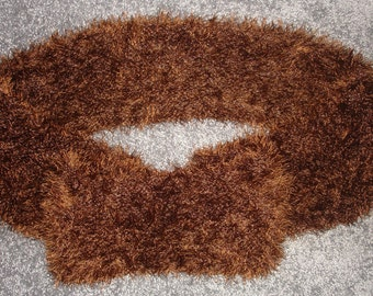 "New Handmade Knit Brown Eyelash Infinity Scarf - 7"" x 69"""