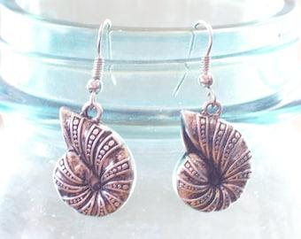 Antiqued Silver Nautilus Sea Shell Earrings, Beach Earrings, Beach Jewelry, Beach Wedding, Silver Seashell, Silver Sea Shell Jewelry