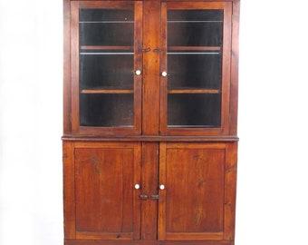 Marvelous Antique Wall Cupboard Primitive Cabinet Hutch Farmhouse Kitchen Shelves  Rustic Glass Door Vintage