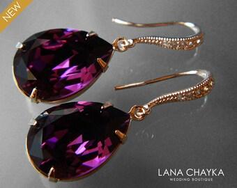 Amethyst Rose Gold Crystal Earrings Swarovski Amethyst Purple Rhinestone Earrings Amethyst Teardrop Dangle Earrings Wedding Purple Jewelry
