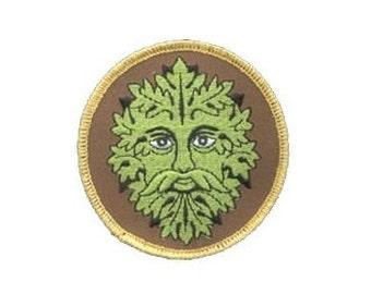 """Green Man Patch - 3"""" Round patch, Iron-on patch, Sew-on applique, Wiccan pagan, Embroidered patch, Greenman patch, Nature applique"""