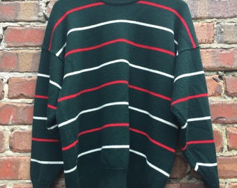 Vintage Mens Jumper Dark Green with Stripes - 100% Pure New Wool