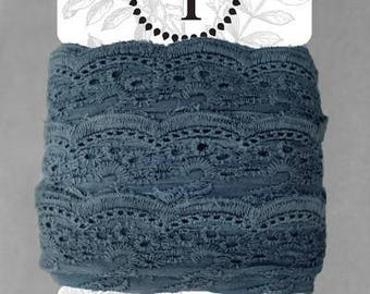 Naturally Dyed Organic Cotton Lace, 75mm wide - Indigo
