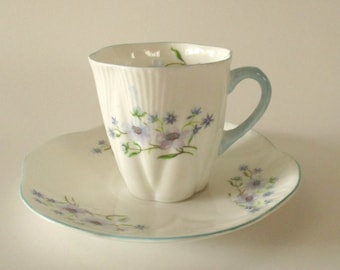 Antique Tea Cup / Shelley England Demitasse Cup and Saucer / Blue Rock Pattern / Floral Tea Cup / Cottage Home Decor / Vintage Tea Party