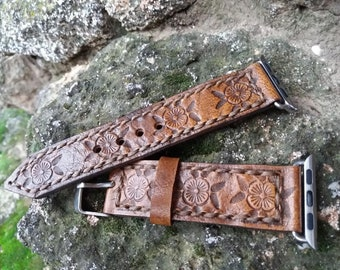Women Watch Band 38mm Tooled Band 42mm Apple Strap Handcraft Unique Art by Goriani design.