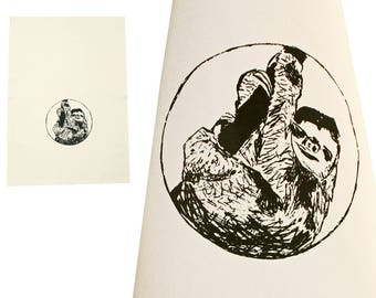 Sloth. Dish towel, organic cotton. Screen printed by hand.