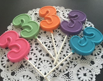 NUMBER THREE Chocolate Lollipops(12 qty)- 3rd BIRTHDAY/Third Birthday Favors/Number 3 Lollipops/Birthday Party/Party Favors