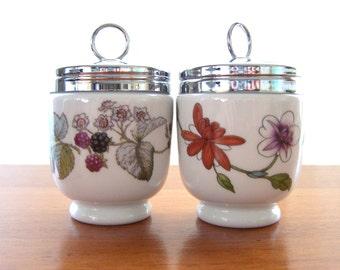 2 Royal Worcester Lavinia and Astley Porcelain Egg Coddler Jar and Lid King size