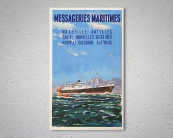 Messageries Maritimes Vintage Travel Poster - Art Print - Poster Print, Sticker or Canvas Print / Gift Idea