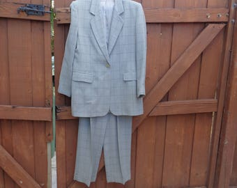 VINTAGE 1980's Ladies Gray Plaid Wool 3 Piece Suit by Marks & Spencer -*reserved* available